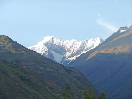 View of the snowy peak of Mount Humantay