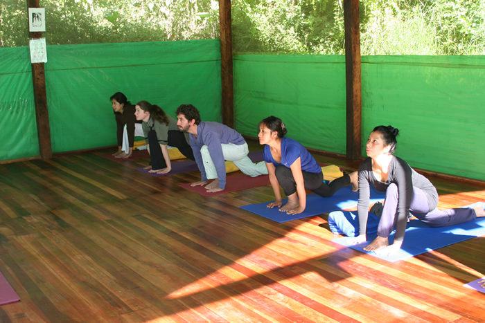 Sun salutations during Yoga class